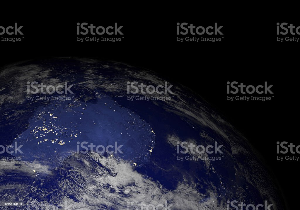 Earth from space at night. Australia. stock photo