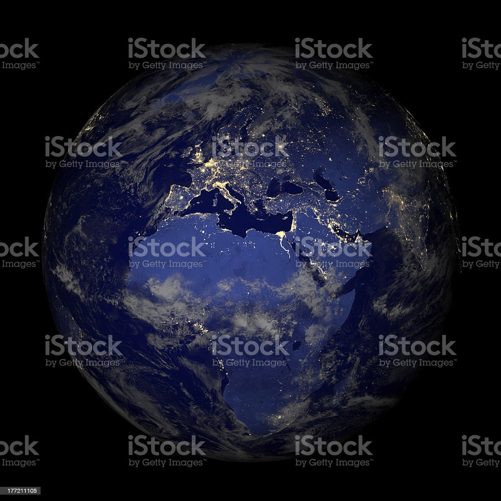 Earth from space at night isolated on black. Europe. stock photo