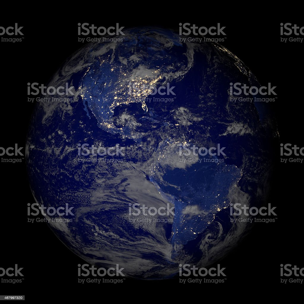 Earth From Space At Night Isolated On Black Stock Photo