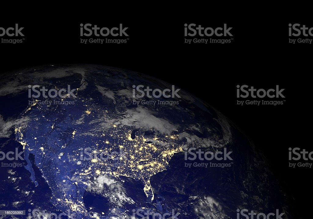 Earth from space at night. North America. stock photo