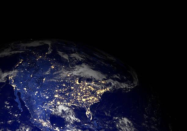 Die erde vom weltraum in der Nacht. North America. – Foto