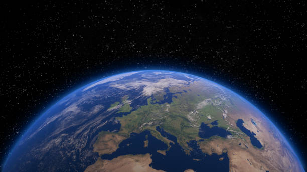 Earth from space closeup 3d closeup render of planet earth from space. Elements of this image by NASA satellite view stock pictures, royalty-free photos & images