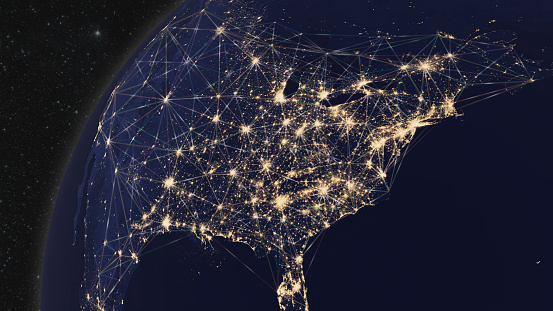 185274311 istock photo Earth from Space Focus on United States with Geometric Polygon Connectivity Network 1207439061