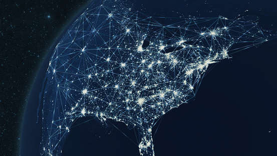 185274311 istock photo Earth from Space Focus on United States with Geometric Polygon Connectivity Network 1207439062