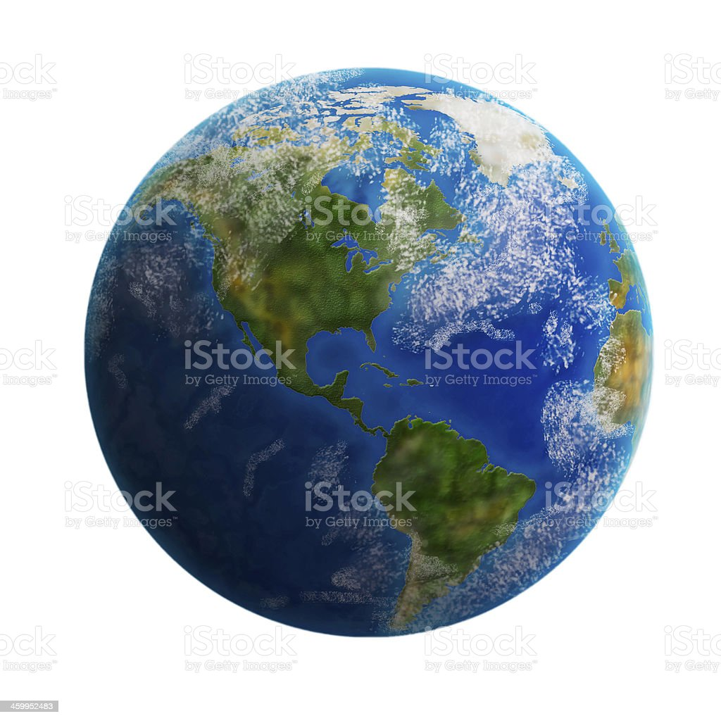 Earth from space isolated on white background. stock photo