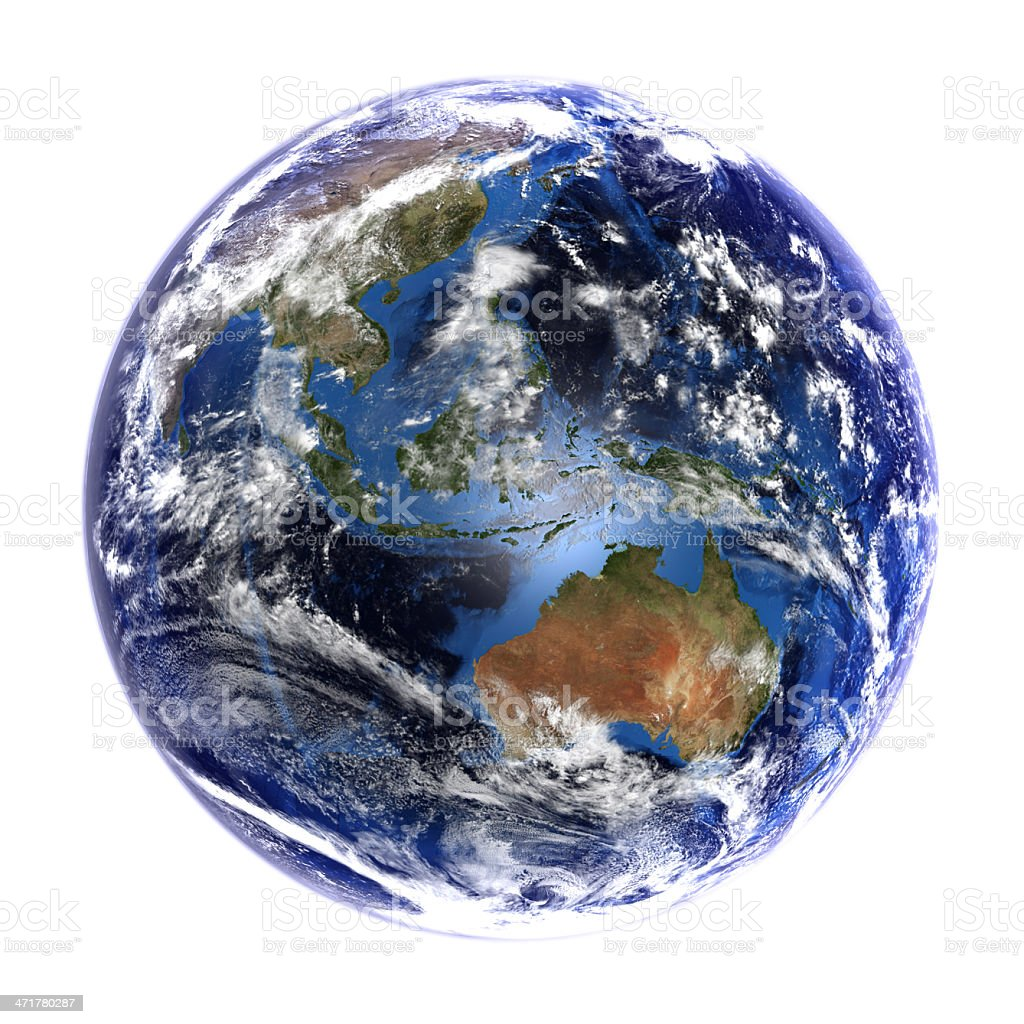 Earth from space showing Asia and Australia, isolated on white. stock photo