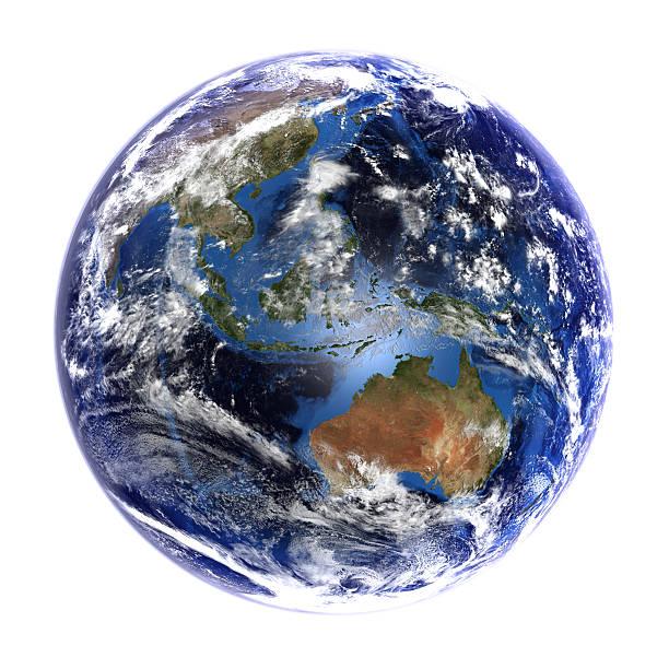 Die erde vom weltraum mit Asien und Australien, isoliert auf weiß. – Foto