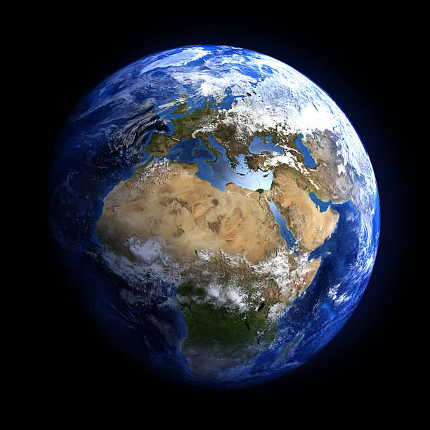 Earth from space showing Europe and Africa. Extremely detailed image, including elements furnished by NASA. Other orientations available.  planet earth stock pictures, royalty-free photos & images