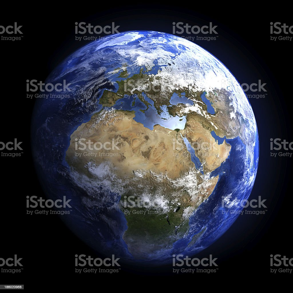 Earth from space showing Europe and Africa. stock photo