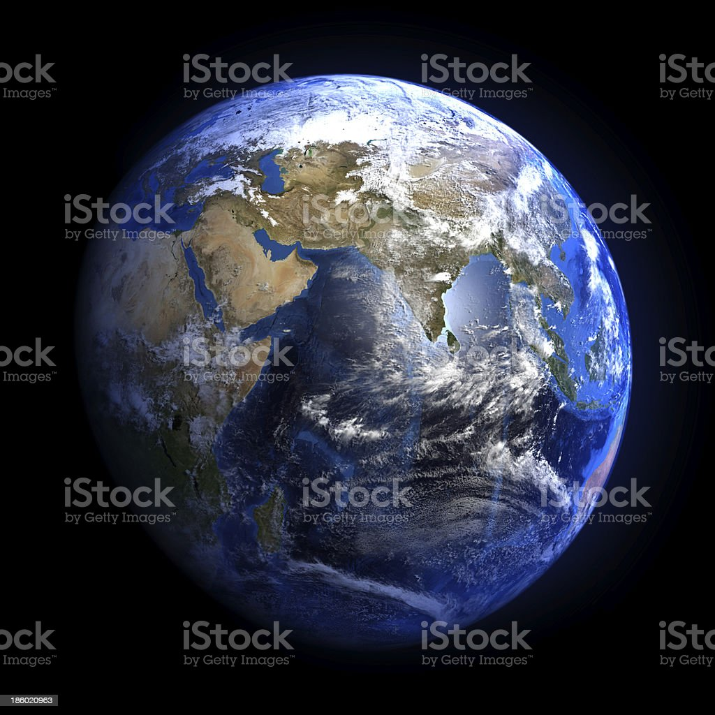 Earth from space showing India and the Middle East. royalty-free stock photo