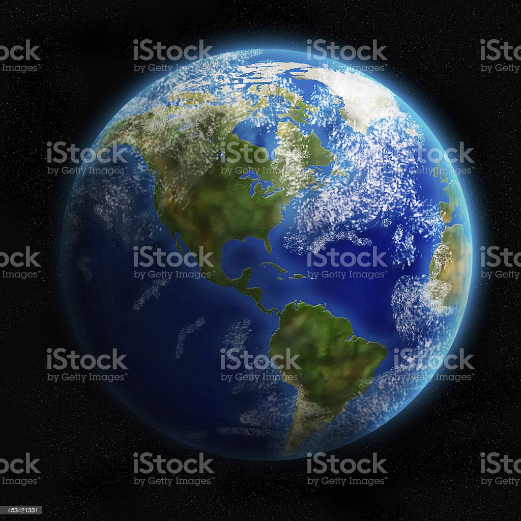 Earth from space showing North and South America. Detailed image stock photo