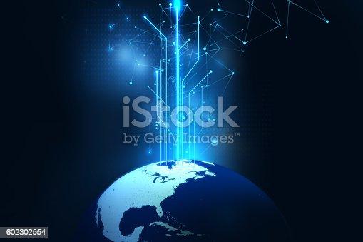 516932860 istock photo earth futuristic technology abstract background illustration 602302554