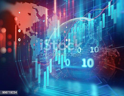 516932860 istock photo earth futuristic technology on stock market chart background illustration 956719234