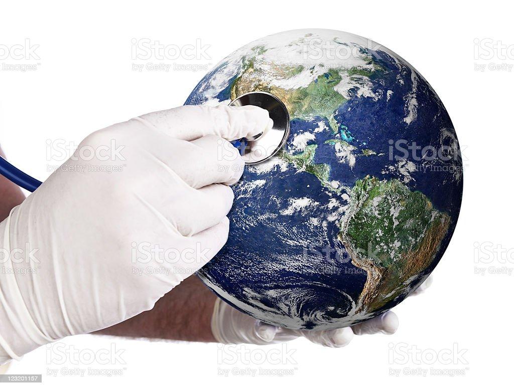 Earth gets a medical checkup royalty-free stock photo