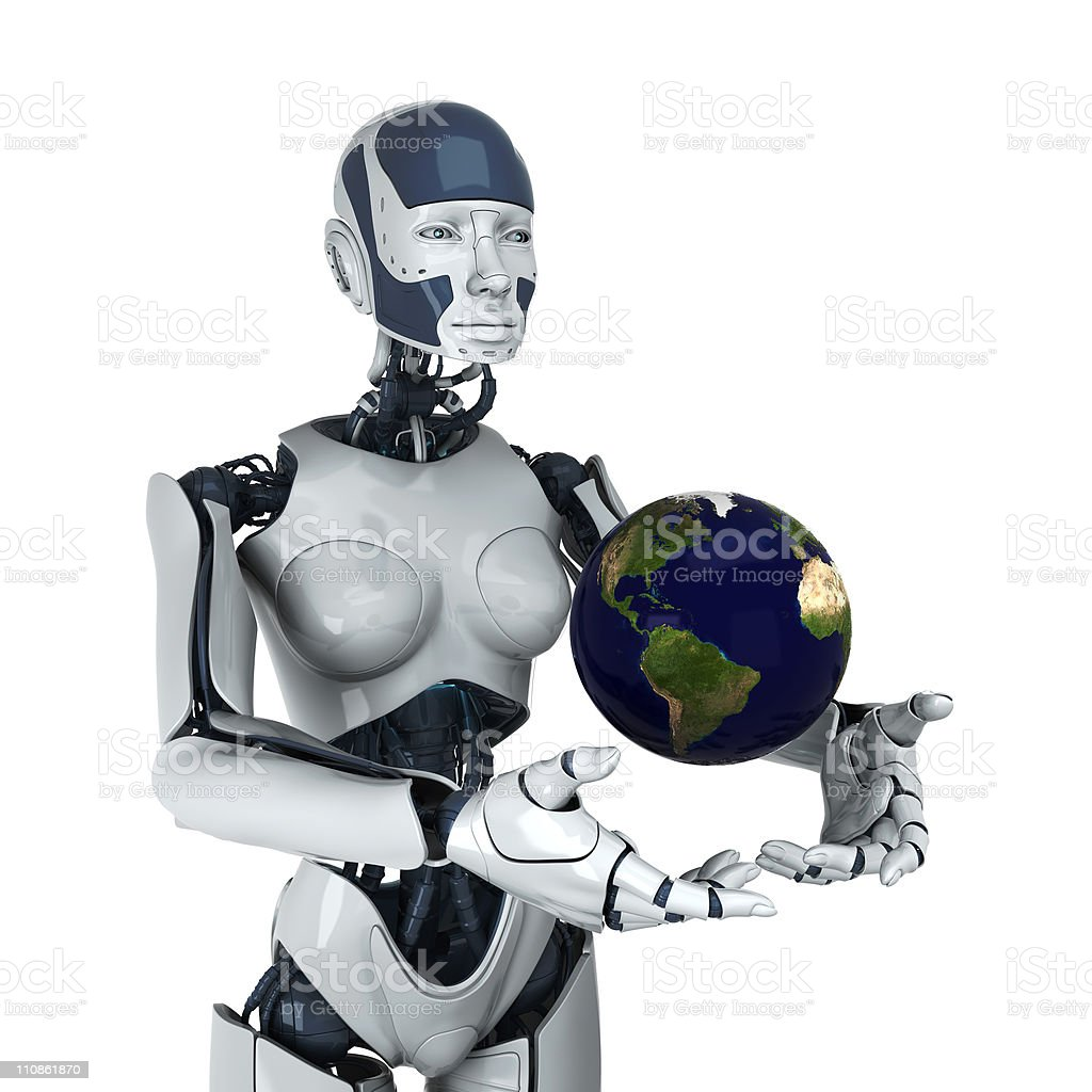 Earth gift from futuristic human royalty-free stock photo