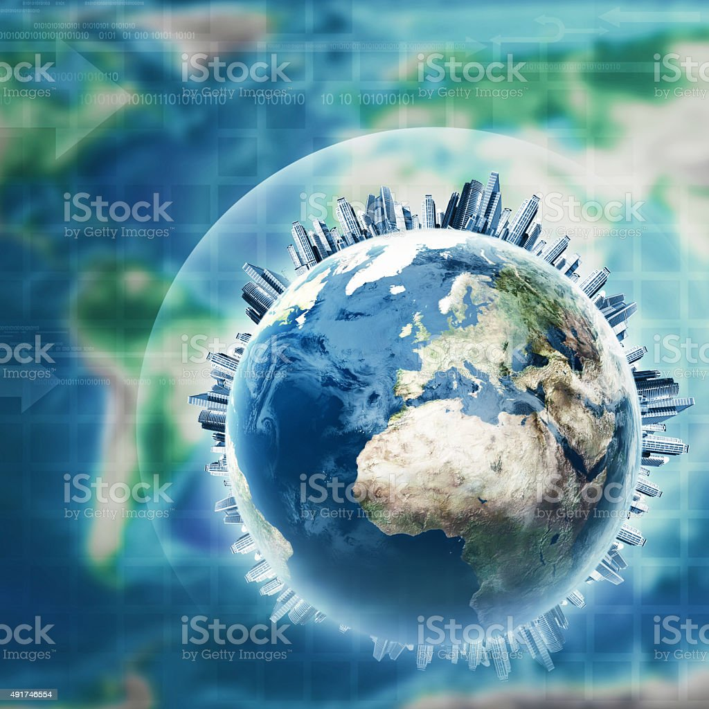 Earth globe against planet map, abstract environmental backgrounds stock photo