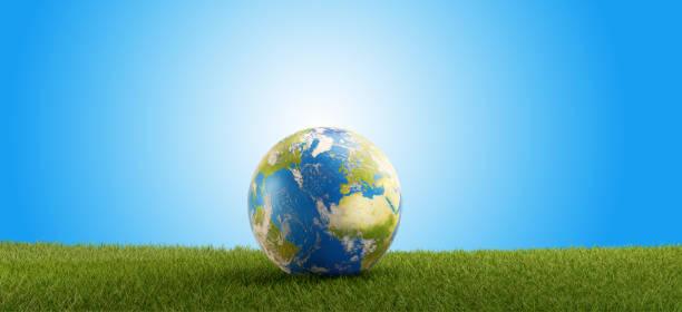 aarde globe en groen grasveld 3d-illustratie. elementen van dit beeld ingericht door nasa - new world stockfoto's en -beelden