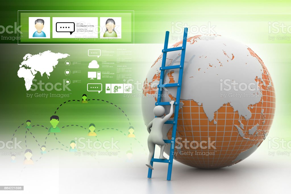 Earth globe and ladder royalty-free stock photo