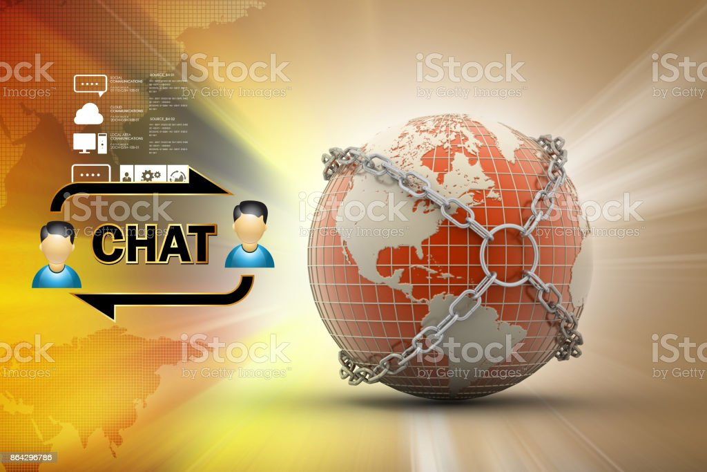 Earth globe close in chain royalty-free stock photo
