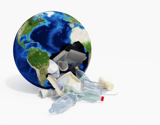 Earth Globe Full of Plastic Waste stock photo