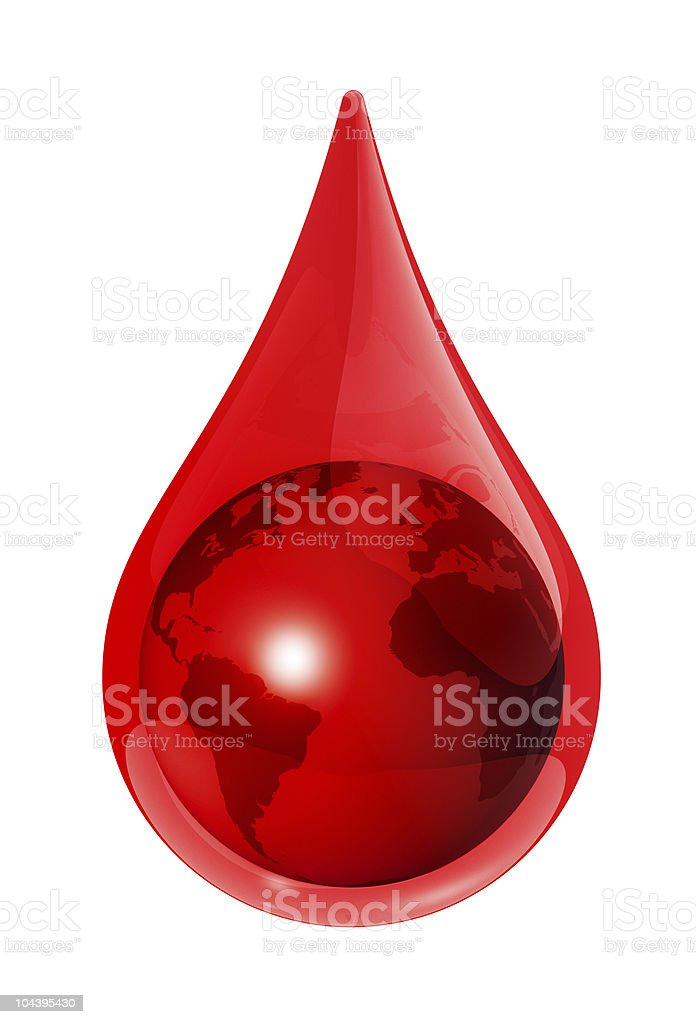 Earth globe in a blood drop royalty-free stock photo