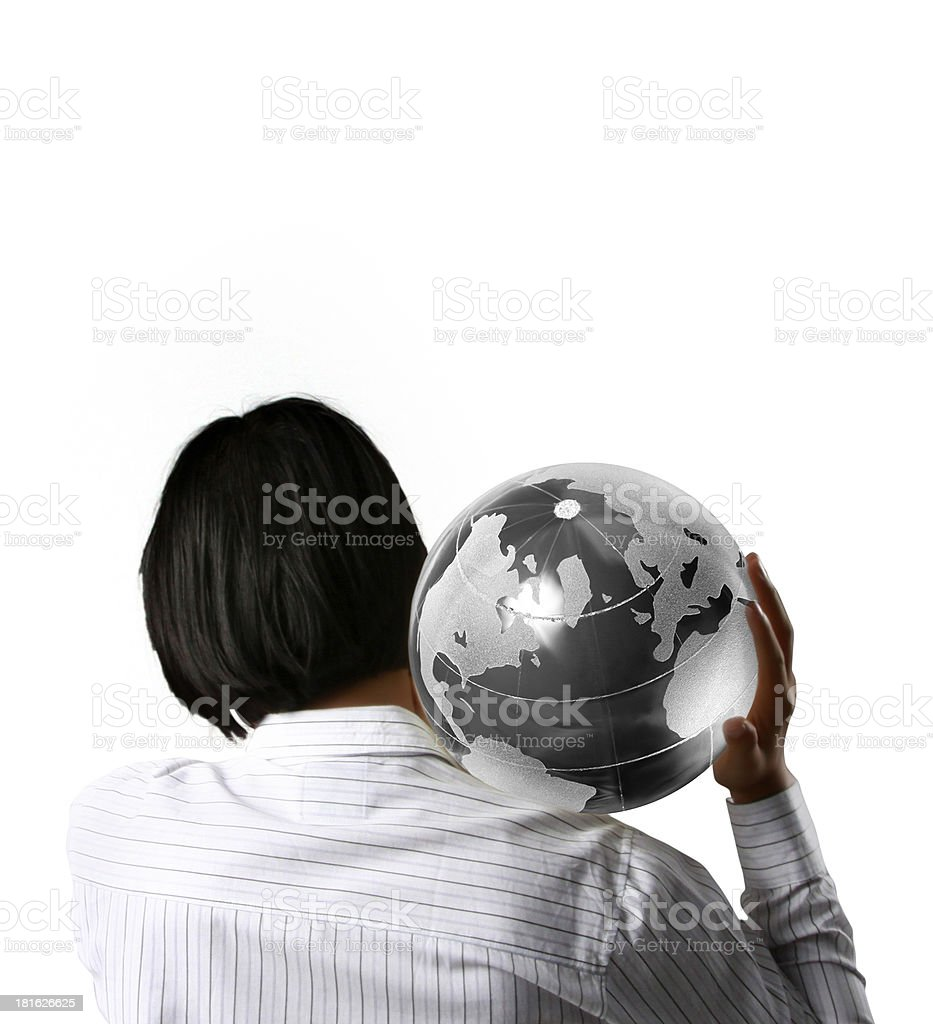 earth globe in his hands royalty-free stock photo