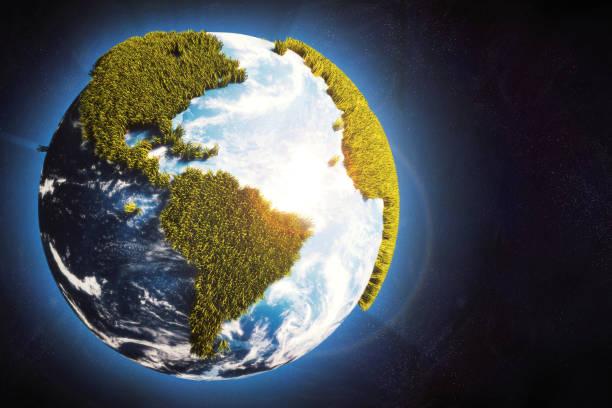jorden världen i utrymme med cartoony gräs kontinenter & glödande atmosfär - biologisk mångfald bildbanksfoton och bilder