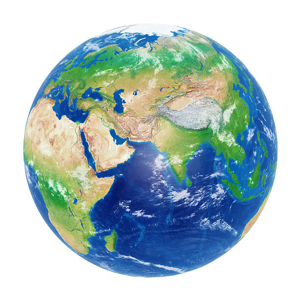 Earth globe isolated on white: Asia. Clipping path included stock photo
