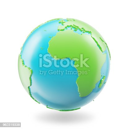 817002182 istock photo Earth globe isolated on white background. Globe planet Earth icon, 3D illustration 962319338