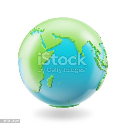 817002182 istock photo Earth globe isolated on white background. Globe planet Earth icon, 3D Rendring 962319346