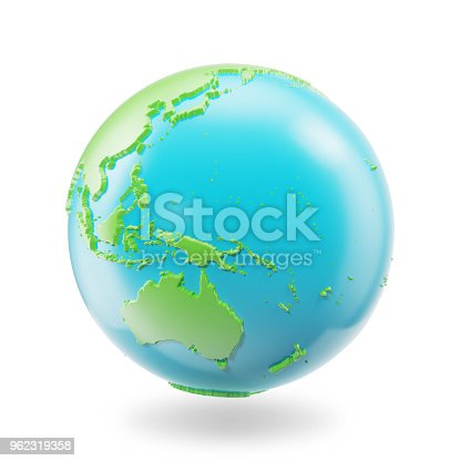 817002182 istock photo Earth globe isolated on white background. Globe planet Earth icon, 3D Rendring 962319358