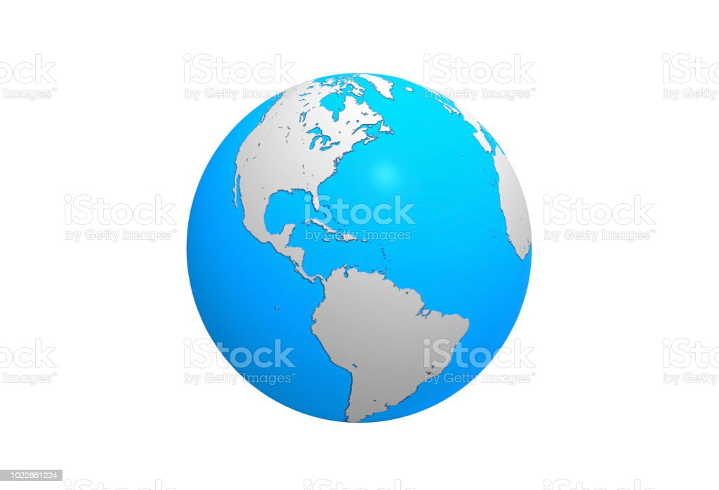 Earth Globe Map North And South American Continent 3d Illustration