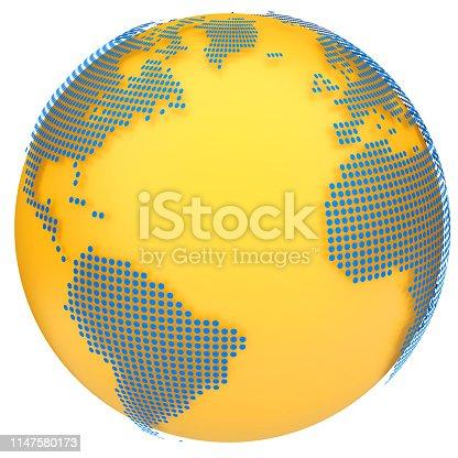 817002182 istock photo Earth globe model. 3d illustration 1147580173