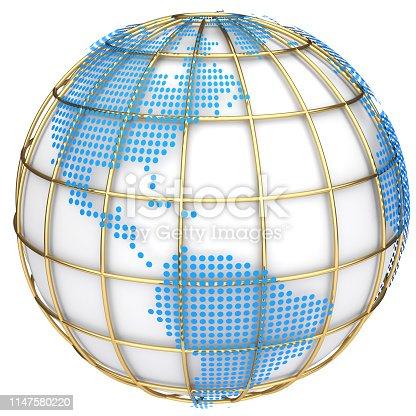 817002182 istock photo Earth globe model. 3d illustration 1147580220