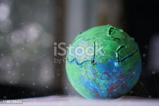 Earth globe model and radar network, study of space technology that affects modern in science schools in secondary schools, concepts about conserving the world with science education, IOT concept