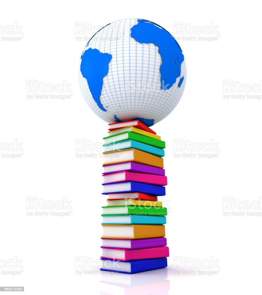 Earth globe on a stack of books royalty-free stock photo
