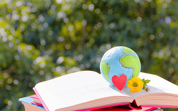 Earth globe on open book. stock photo