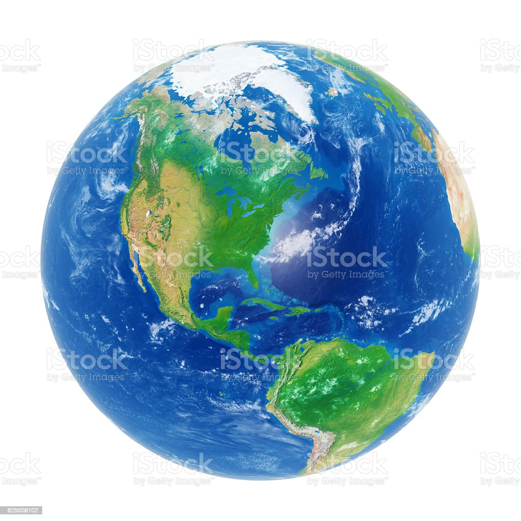Earth globe on white: Americas and North Pole. Clipping path. stock photo