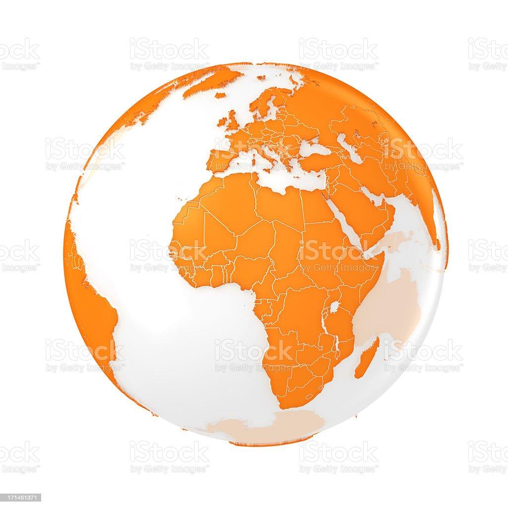 Earth globe orange royalty-free stock photo