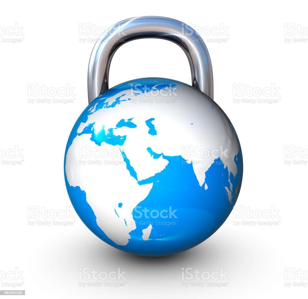Earth globe padlock stock photo