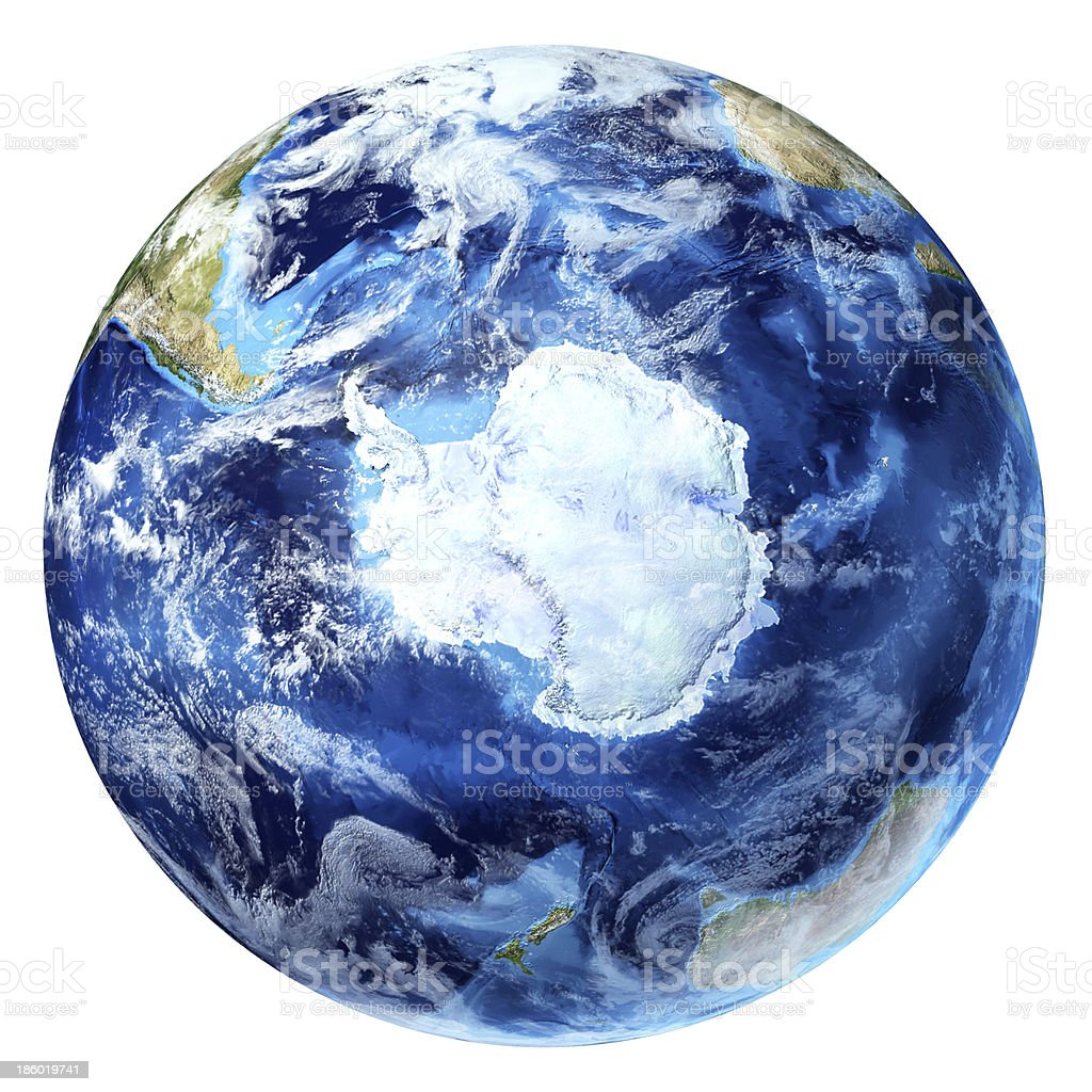 Earth globe, realistic 3D rendering, Antarctic (south pole) view. stock photo