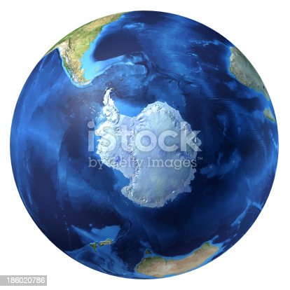 istock Earth globe, realistic 3D rendering. Antarctic (south pole) view. 186020786