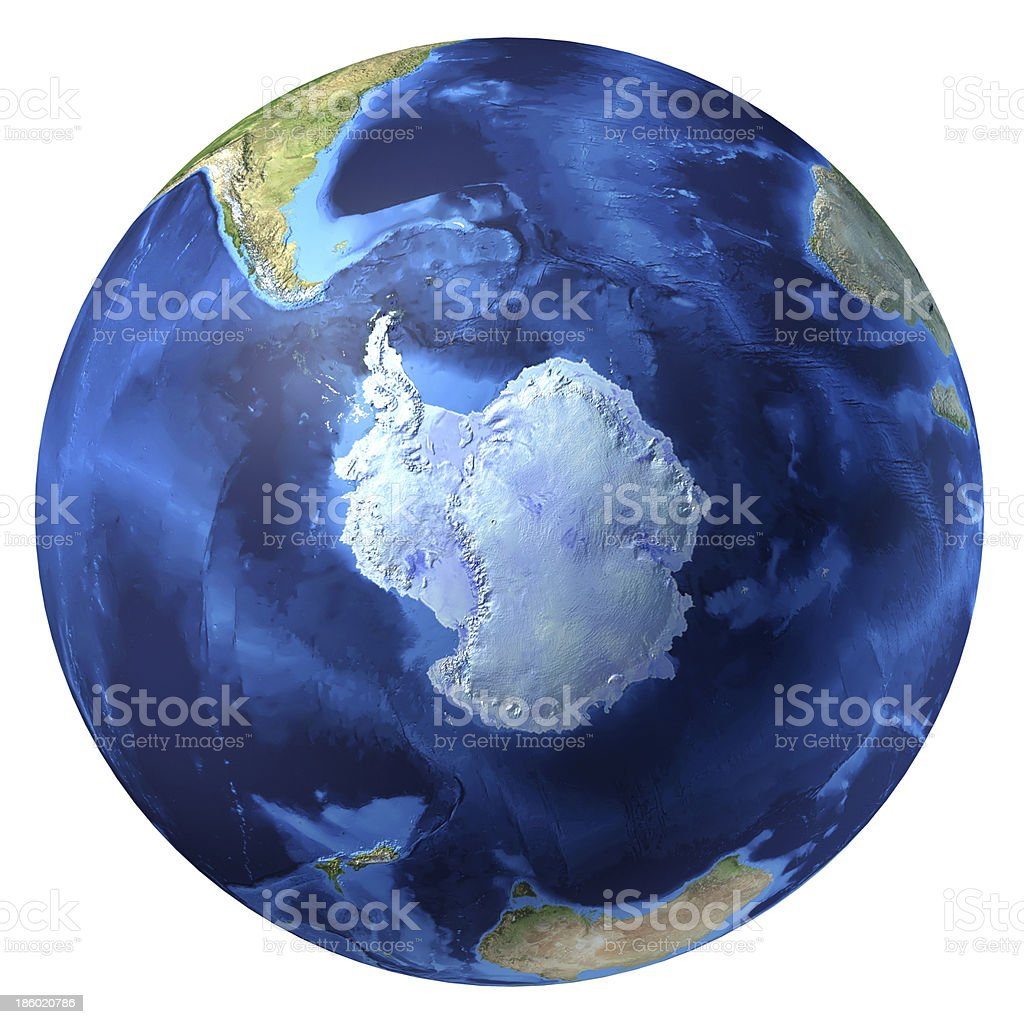 Earth globe, realistic 3D rendering. Antarctic (south pole) view.圖像檔