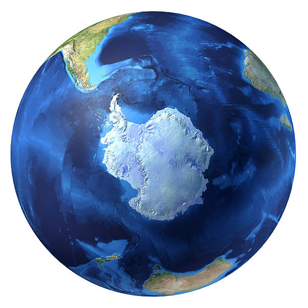 Earth globe, realistic 3D rendering. Antarctic (south pole) view. stock photo