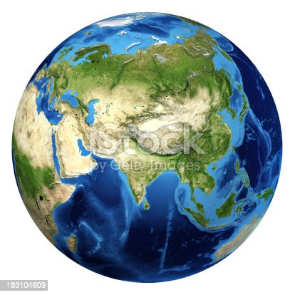 186019678istockphoto Earth globe, realistic 3D rendering. Asia and Europe view. 183104609