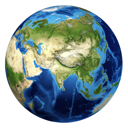 186020817 istock photo Earth globe, realistic 3D rendering. Asia and Europe view. 183104609