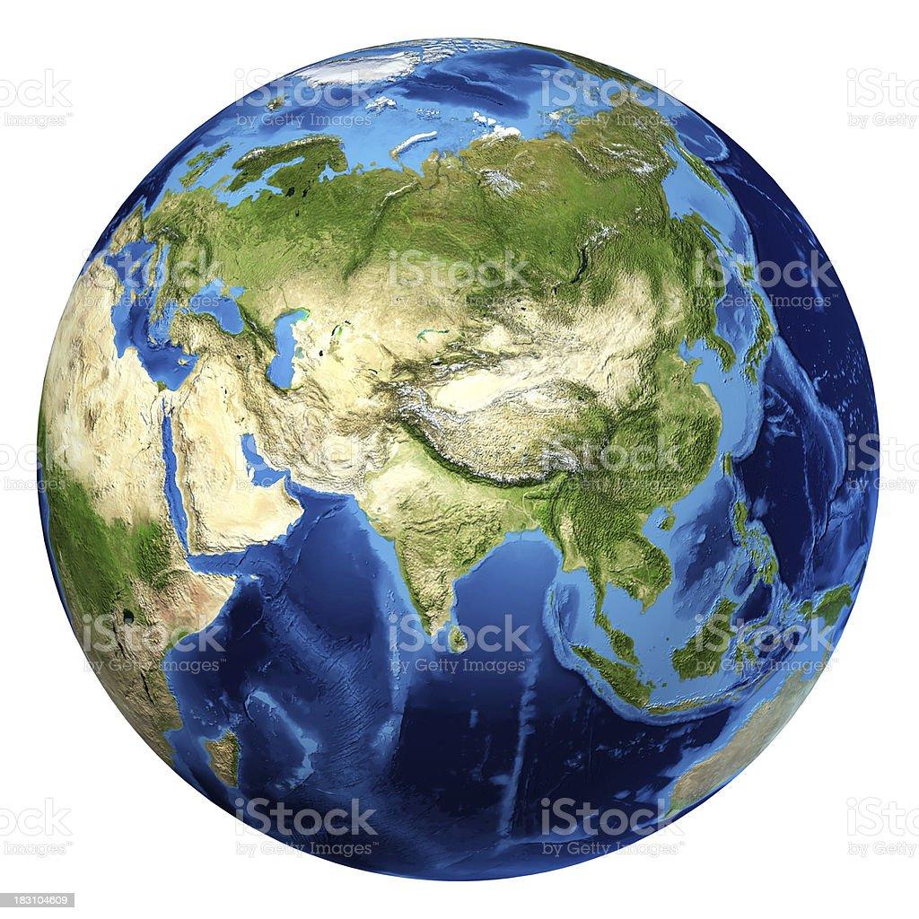 Earth globe, realistic 3D imagen. Asia y Europa. - foto de stock