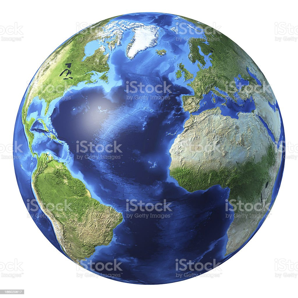 Earth globe, realistic 3D rendering. Atlantic ocean view. Earth globe, realistic 3D rendering. Atlantic ocean view. At white background. Abstract Stock Photo