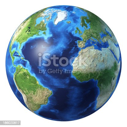 istock Earth globe, realistic 3D rendering. Atlantic ocean view. 186020817