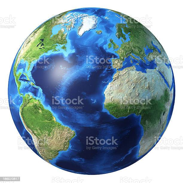 Earth Globe Realistic 3d Rendering Atlantic Ocean View Stock Photo - Download Image Now